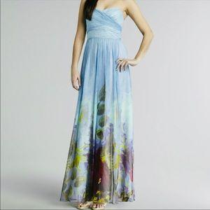 NWT Aidan Mattox Silk Floral Strapless Dress